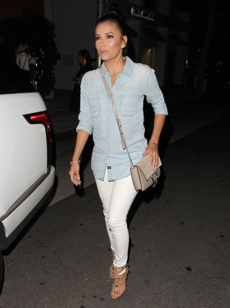 Eva Longoria Suede Shoulder Bag