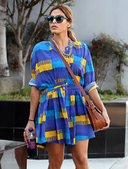 Eva Mendes looked like she stepped out of the '90s in this adorable print dress out in West Hollywood.