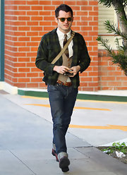 Elijah Wood was spotted in a checkered blazer around Beverly Hills.