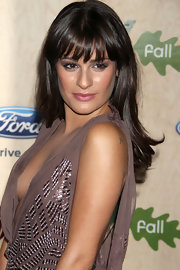 Lea Michele encircled her eyes in a sultry shade of amethyst eyeshadow at the Fox fall Eco-Casino party. To recreate Lea's look, sweep shadow across lids and along top and bottom lash lines. To finish, add a few coats of black mascara.