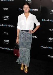 Olivia Palermo was luxuriously low-key at the premiere of 'Friends With Benefits' in a white blouse and maxi dress punctuated by a quilted wine leather bag with a silver chain strap.