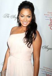 La La Vazquez wore her hair in a romantic half up, half down 'do at the Gabrielle's Angel Foundation ball.