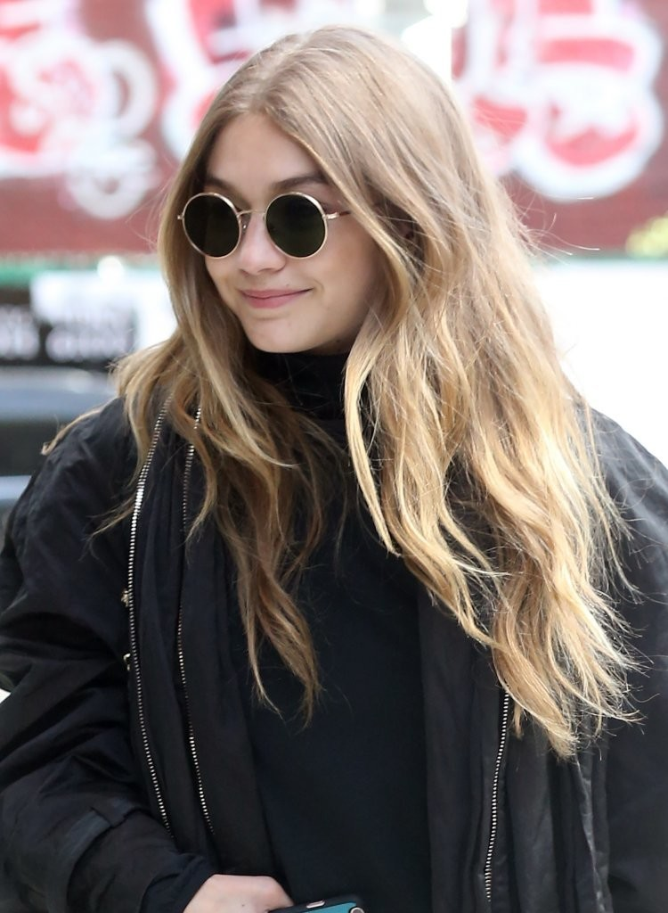 Gigi Hadid Long Center Part - Gigi Hadid Looks - StyleBistro