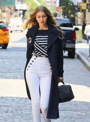 Gigi Hadid was spotted at a photo shoot in New York City carrying a boxy black leather tote.