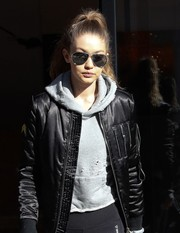 Gigi Hadid was tough-chic in her aviators and bomber jacket while out and about in New York City.