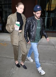 Gigi Hadid looked tough in an oversized khaki jacket and matching pants while out in New York City.