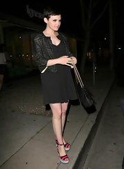 Ginnifer Goodwin headed out for dinner in West Hollywood wearing an adorable pair of colorful striped espadrilles.