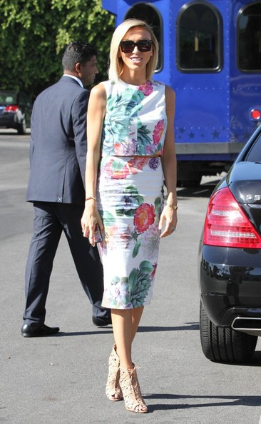 For an edgy touch, Giuliana Rancic finished off her look with nude lace-up booties.