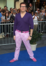 Perez Hilton completed his eye-catching get-up with a pair of pink suede loafers.