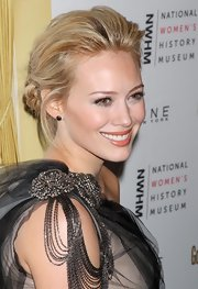 The newly engaged starlet wore a chic, messy updo with a twisted bun and textured volume on top. Lovely!