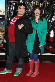 Tanya color coordinated with her husband in a pair of dusty red rain boots.