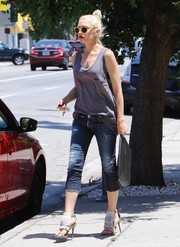 Gwen Stefani was edgy-cool in ripped capri jeans by Dsquared2 while out shopping.