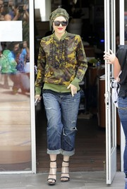 Gwen Stefani's Adidas camo-print ruffle jacket was equal parts edgy and cute.