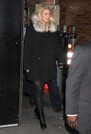 Gwyneth Paltrow strepped out in style wearing a pair of Balenciaga folded ankle boots. The wedge boots were the perfect complement to a black fur trimmed coat.