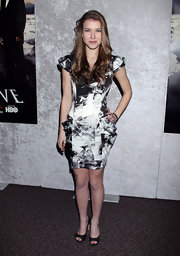 Nathalia Ramos stepped out at the 'Big Love' Season 5 Party wearing a monochrome print dress.