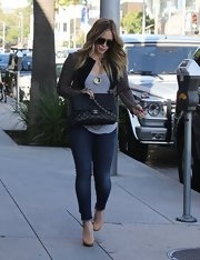 Hilary Duff hit the town in an ultra-fitted pair of ankle-length jeans.