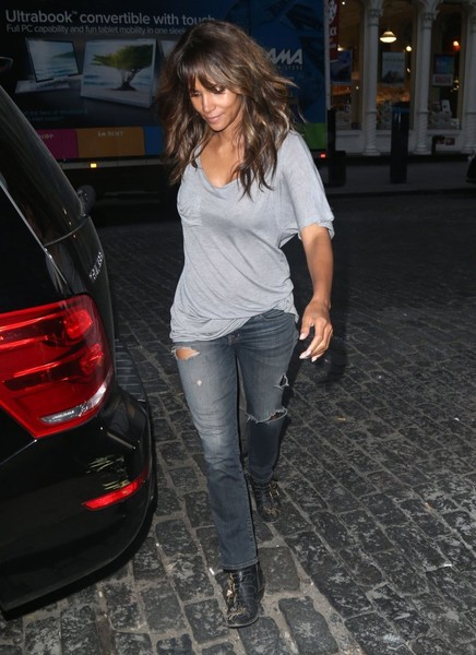 Halle Berry Ripped Jeans