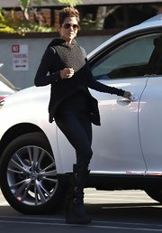 Halle Berry's crochet hooded vest gave a dynamic layer to her errand-running look.