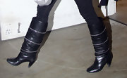 Halle's knee-high boots had a cool vintage '80s vibe.