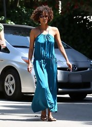 The rich color of Halle's maxi-dress is divine.