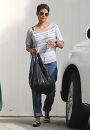 Halle Berry's off-the-shoulder striped tee has a cool laid-back feel.
