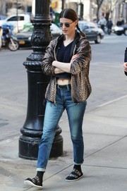 Hanneli Mustaparta went the wild route in a leopard-print zip-up jacket layered over a crop-top while out and about in NYC.