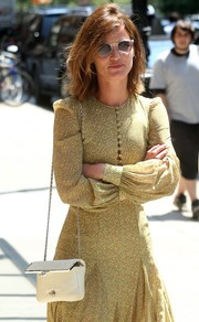 Hanneli Mustaparta kept the sun out with a pair of clear-rimmed shades while out and about in New York City.