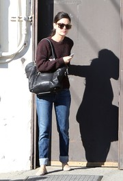 Rachel Bilson looked just like any normal girl in her maroon Topshop sweater and cuffed jeans while out shopping.