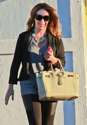 Haylie Duff showed off a butter cream Birkin bag while making a trip to her salon in Beverly Hills.