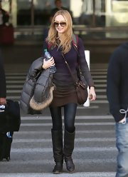 Heather Graham kept warm and toasty in a sheer pair of tights.