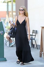 Heidi kept it simple and classic with a flowing black maxi dress while out in California.