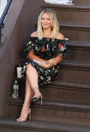 Hilary Duff exuded feminine appeal wearing this floral off-the-shoulder dress on the set of 'Younger.'