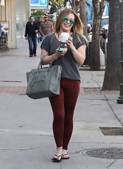 Hilary Duff channeled a major bohemian vibe in these rustic-print leggings.