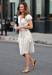 Hilary Swank looked ready for Spring in flat tan sandals.