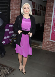 Holly Madison topped off her magenta frock with cap-toe pumps complete with studded detailing.