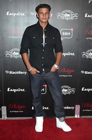 Pauly D. sported blindingly white high top sneakers on the red carpet.