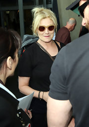 Cool sunglasses... Hugh Jackman's wife Deborra Lee Furness arrived at the Sydney Airport.