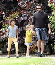 Oscar Jackman looked ready to frolic in the park in a pair of bright yellow sports pants.
