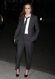 Leighton Meester paired her dashing suit with satin Salvatore Ferragamo Fioretta pumps. The gem toned shoes give Leighton's menswear a girlie finish.