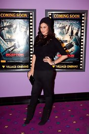 Megan Gale took a risk with a pair of black drop-crotch pants when she attended the Melbourne premiere of 'Inception.'