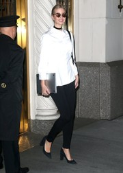 Ivanka Trump pulled her look together with a pair of chunky-heeled black pumps from her own line.