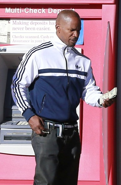 Jamie Foxx opted for a sporty zip-up track jacket while out in LA.