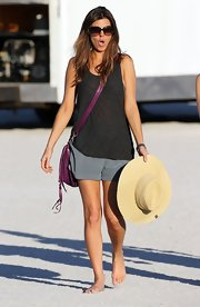 Jamie-Lynn Sigler hit the beach in a sheer charcoal tank.