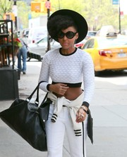 Janelle Monae took a stroll in New York City wearing chic round sunglasses.