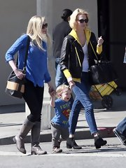 January Jones opted for a casual look with high-waisted, cropped, straight leg jeans while hanging out with her son in Hollywood.
