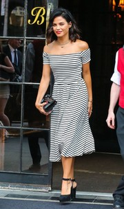 Jenna Dewan-Tatum was spotted out in New York City looking cute in a striped off-the-shoulder dress by Who What Wear x Target.