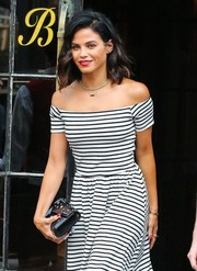 Jenna Dewan-Tatum accessorized her cute frock with a Jimmy Choo envelope clutch for a day out in New York City.
