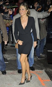 Jennifer Aniston stopped by the 'Daily Show' looking sleek and elegant in her Saint Laurent LBD.