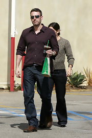 Actor Ben Affleck wore a pair of Walker relaxed straight leg jeans in Boone while out getting coffee with his wife.