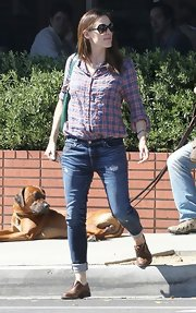 Jennifer Garner opted for a casual and comfy button down for her daytime look while out in Santa Monica.